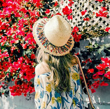Womens Tassel Bohemian Raffia Straw Fedora Trilby Hat Summer Beach Sun Wide Cap