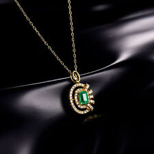 18ct Yellow Gold Natural Untreated Emerald and Diamonds Pendant GBP 4500