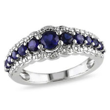 Fashion Women Ring 925 Silver Round Cut Blue Sapphire Wedding Ring Gift Size 8