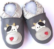 soft sole leather baby shoes minishoezoo cow grey 5-6 years US 13-1  free shippi