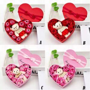 New Household Items Valentine's Day 10 Flowers Soap Flower Gift Rose Box Bears