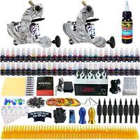Solong Tattoo Kit 2 Tattoo Machine Guns Set 54 Ink Power Supply Needle TK220