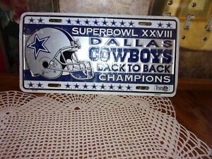 Dallas Cowboys Collectible 1994 License Plate Superbowl 28 Champions NOS Sealed