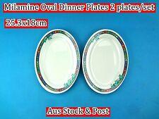 """Melamine Oval Dinner Plates Flower Pattern 10"""" - 2 plates/set (B73) Brand New"""