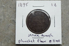 1895 Canada one 1 cent - strike though / planchet flaw error