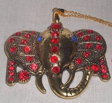 Large Rhinestone Bronze/Gold Elephant Head Pendant Necklace with Gp Chain