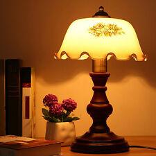 Retro Vintage Bedside Table Desk Lamp Light Wooden Base Art Deco Glass Shade