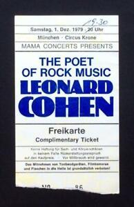 Leonard Cohen ticket  Munich Circus Krone 01/12/79 #86
