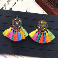 Women Fashion Vintage Bohemian Long Tassel Fringe Boho Dangle Earrings Jewelry