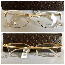 NEW AUTHENTIC GUCCI OPTICAL GG4277 LVQ 53-16-140 IVORY GOLD METAL EYEGLASSES