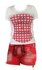 Trachtenhose+ Trachtenjeans Jeans + Shirt Trachtenshirt Lederhosenoptik Weiß Rot
