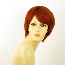 perruque femme 100% cheveux naturel courte cuivré intense ref CECILE 130