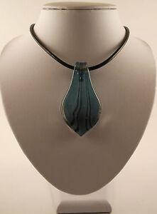 "Handmade Silver Foil Glass Peacock Blue Leaf Pendant & 18"" Black Leather Cord."