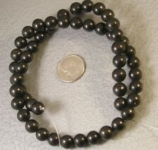 """Natural Jet Loose Beads 8mm round gemstone 16"""" Top Quality Mongolia"""