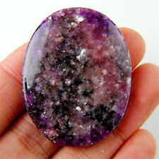 Natural Purple Lepidolite Stone Egg-shaped Pendant Bead 44x35x6mm WZYM2
