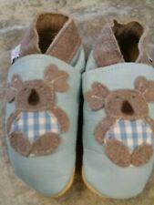 Baby boy daisy roots leather koala bear crib shoes 6-12 months size 3 18-19 bnwt