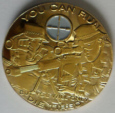 Sniper Challenge Coin with Crosshairs You can run but you will only die tired