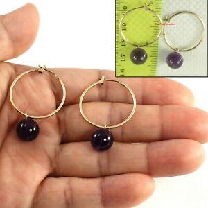 14k Yellow Gold 25mm X 1.25mm Hoop Sets 10mm Purple Amethyst Dangle Earrings TPJ