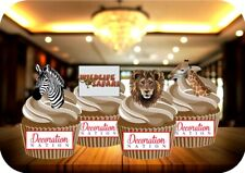 Wildlife Safari 12 Edible STANDUP Cake Toppers Decoration Birthday Zebra Giraffe