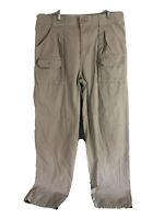 Cabelas Cargo Outdoor Hiking Pants Mens 36 x 34 Beige Flat Front 100% Cotton