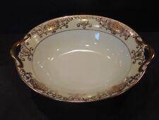 """Noritake No.175 Oval Vegetable Bowl Dish Gold Handles 9-3/8"""" x 7"""" Christmas Ball"""