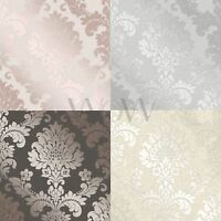 FINE DECOR QUARTZ DAMASK WALLPAPER SILVER GOLD ROSE GOLD PEWTER FEATURE WALL NEW