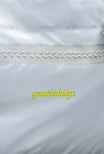 Yves Delorme Laurier Nacre Queen Flat Sheet White Ivory Embroidery Cotton Sateen