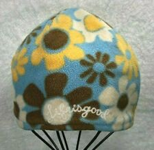 Life is Good Reversible Blue Brown Flower Print Fleece Beanie~Toddler Size 2-4
