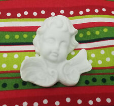 "Lot of 6 Vtg 2"" Alabaster Resin Cherub Child Angels Plaques Christmas Crafts"