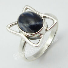 925 Solid Silver SODALITE ART Ring Size P ! Brand New