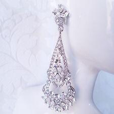 Long Art Deco 1920s Style Rhinestone Crystal Bridal Wedding Chandelier Earrings