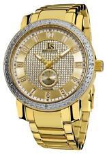 Joshua & Sons JS-20-YG Seconds Subdial 30M WR Diamond Bezel Goldtone Mens Watch