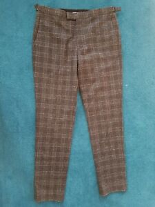 REISS Wool Trousers W32 L32 Charcoal Grey Prince of Wales CHECK Suit Pants BRAND
