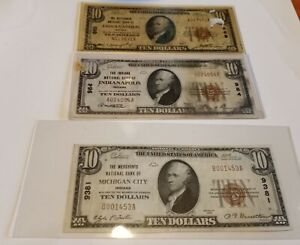 Lot Of Three Indiana $10.00 National Currency Banknotes! No reserve! Mid- grades