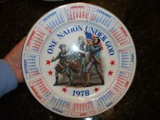 1978 Calendar Collector Plate One Nation Under God Fife & Drummer Free Shipping