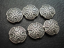 "Set of 6 WESTERN HORSE SADDLE TACK LEATHER CRAFT 1"" ANTIQUE CELTIC CROSS CONCHOS"
