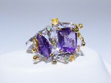 GENUINE! 6.31tcw Amethyst, Sapphire & Emerald Ring Solid Sterling Silver 925