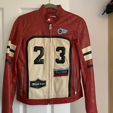 Leather Jacket Biker Style Ladies Red Size 10 used