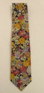 "LIBERTY OF LONDON BLUE TIE 100% SILK FLORAL 56""/3.5"" EX CONDITION"
