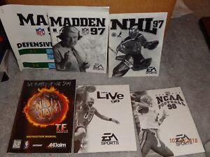 Vintage PC Computer Game Manuals Lot 2 - EA Sports Madden NBA NCAA NHL