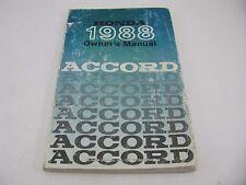 Honda Accord 1988 88 Owners Manual Set Packet Folder Free Shipping