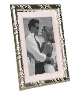 """Silver Photo Picture Frame 4x6"""" & 5x7"""" - White Crystal Design"""