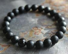 Fashion Mens Matte Black Onyx Yoga Energy Beaded Bracelet Boyfriend Gift Jewelry