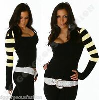 Sweater Striped Jumper Ladies Womens V Neck Bolero Top One UK size S M L 8 10 12