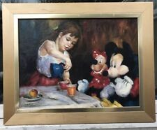 1960/70s RUSSIAN SCHOOL OIL PAINTING OF GIRL AND MICKY MOUSE - Krotov