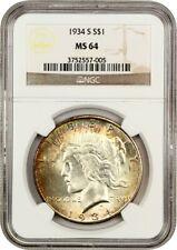 1934-S $1 NGC MS64 - Beautiful Toning - Peace Silver Dollar - Beautiful Toning