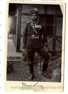 MILITARY CABINET PHOTO SIKH SOLDIER & MEDALS MACKAY PHOTOGRAPHER MAYMYO BURMA