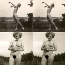 18 Akt - Stereofotos, unbeschwerte Nackte Damen im Freien,1940 Stereoviews Lot 1