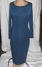 COOL CHIC H&M 12 STRETCH MID CALF DRESS BRACELET SLEEVE PETROL BLUE BLACK TRIM
