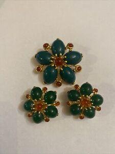 vintage Joan Rivers flower pin brooch and earrings set